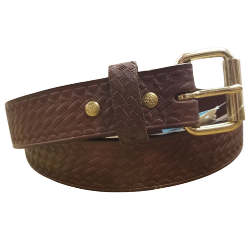 """1 1/2"""" Brown Hand Crafted Basket Weave Belt by H Miller & Sons 330"""