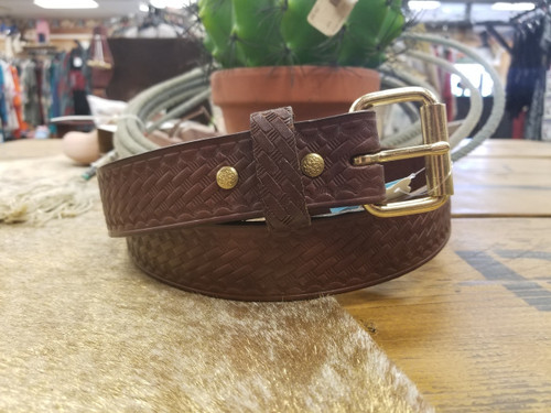"1 1/2"" Brown Hand Crafted Basket Weave Belt by H Miller & Sons 330"