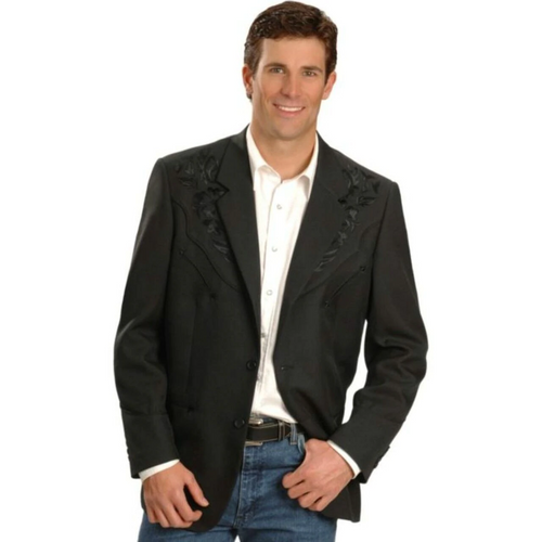 Men's Polyester Tonal Black Floral Embroidered Western Blazer by Scully Leather P-733