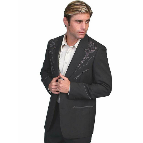 Men's Polyester Tonal Charcoal Floral Embroidered Western Blazer by Scully Leather P-733