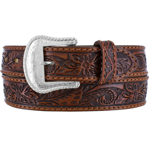 Men's Floral Hand Tooled Leather Belt by Leegin C40065