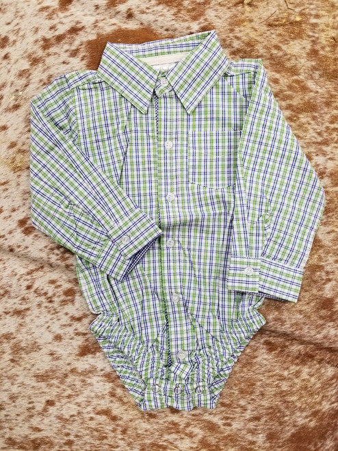 Infant 6-12 Month Plaid DIaper Shirt by Ganz ER58464