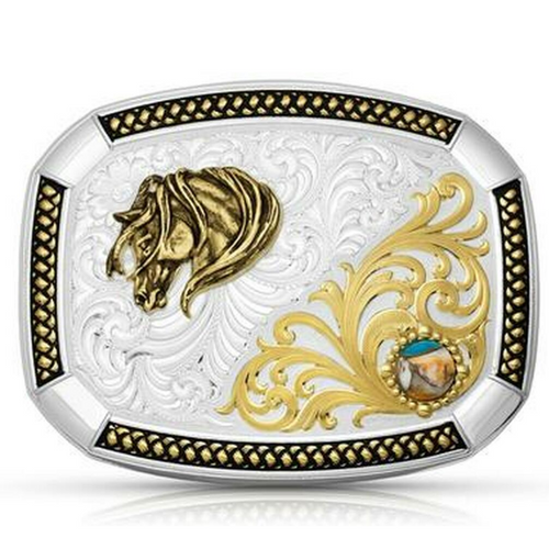 Two Tone Wheatland Turquoise Buckle with Horse Head by Montana Silversmith 36710YG-960L
