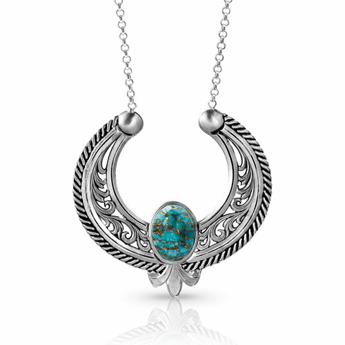 Women's Blue Moon Turquoise Reverse Blossom Necklace by Montana Silversmith NC4043TQ