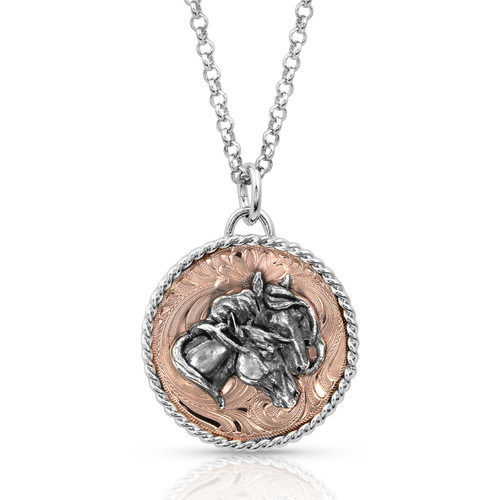Women's Classic Beauty Double Horse Head Medallion Necklace by Montana Silversmith NC4276RG-961M