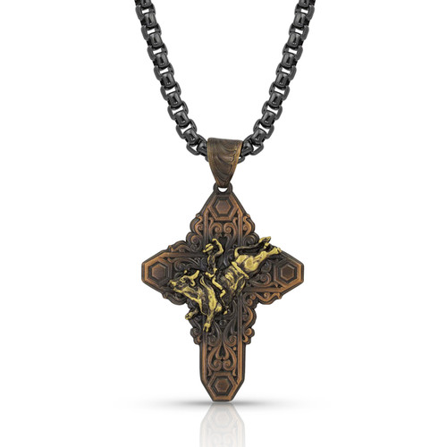 Vintage Bronze Filigree Cross Necklace by Montana Silversmith NC3507BLB