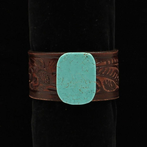 Distressed Floral Embossed Leather Cuff with Turquoise Stone DBR684