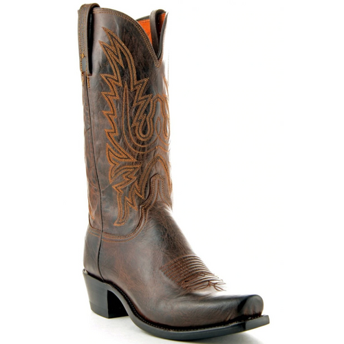Men's Lucchese 1883 Chocolate Burnish Mad Dog Goat Snip Toe Western Boots N1556.74