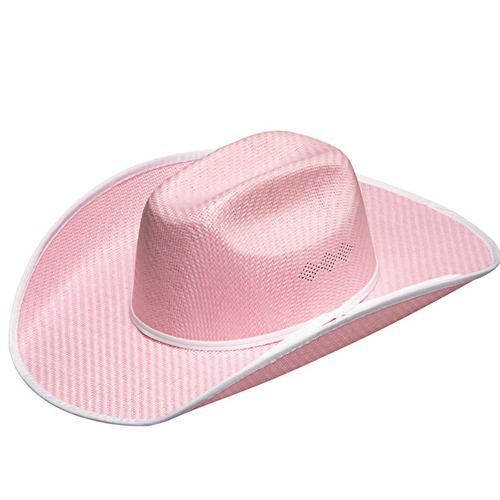 Youth Pink Bound Edge Straw Cowboy hat by M&F Western T71310
