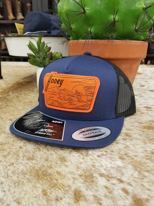 Davis Hooey Navy and Black 5 Panel Trucker Patch Baseball Hat by Hooey 1841T-NVBK