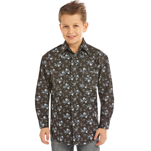 Boy's Long Sleeve Snap Front Cowboy Shirt by Panhandle Slim B8S2308