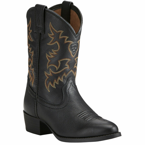 Children's Heritage Western Black Deertan Cowboy Boot by Ariat 10021609