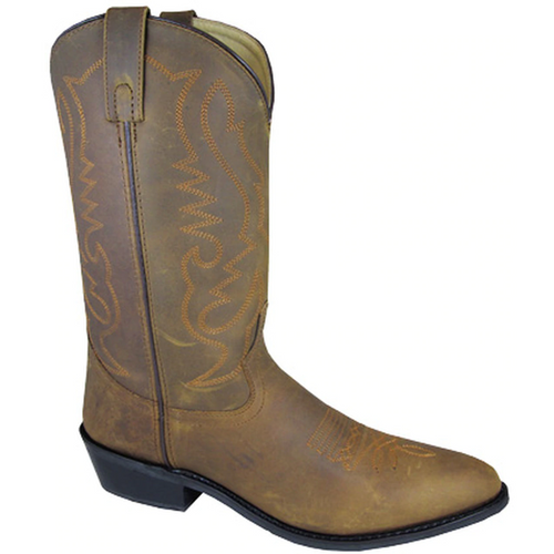 Men's Denver Brown Distressed Leather Cowboy Boot By Smoky Mountain Boots 4034