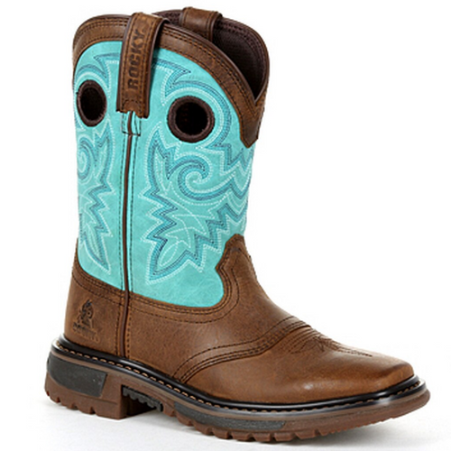 Kid's Original Ride FLX 8 Inch Pull-On Teal Western Boot RKW0299