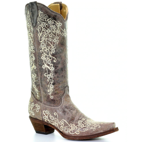 Women's Bone Embroidery Western Boots by Corral A1094