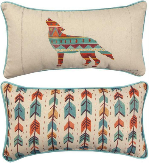 Southwest Vibes Wolf Pillow By Manual Woodworkers SHSVWF