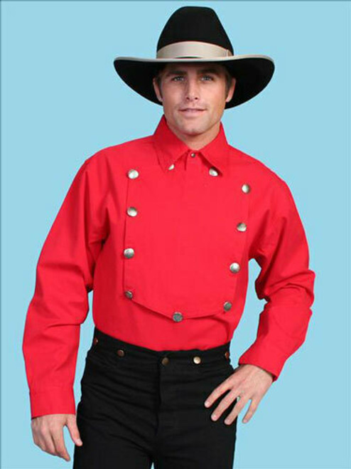 Men's Old West Bib Front Shirt by Scully RW011 (RED 4XL IS *FINAL SALE)
