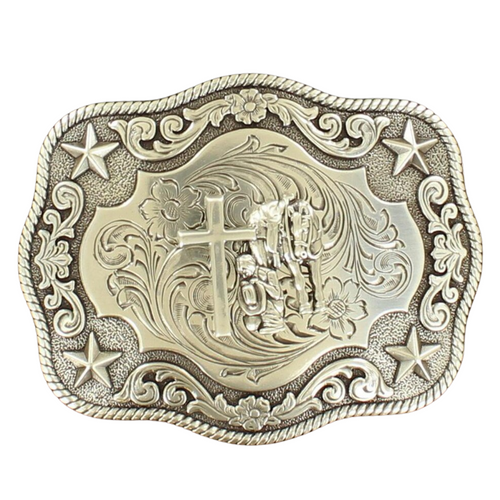 Rectangle Praying Cowboy Rope Edge Buckle by M&F 3798659