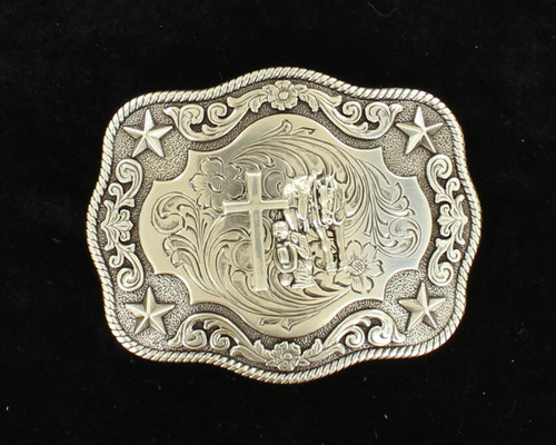 Rectangle Praying Cowboy Rope Edge Buckle by M&F Western 3798659