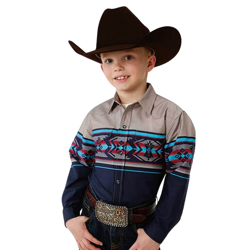 """Clearance"" Boy's Vintage Aztec Border Long Sleeve Western Shirt by Roper 3-30-0431-0101"