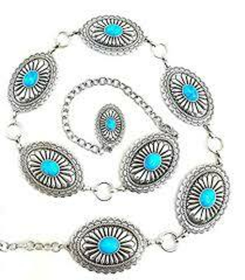 Women's Belt Concho With Turquoise Stones A1515836