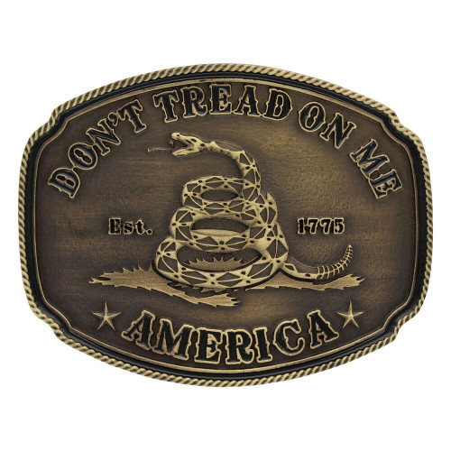 Don't Tread on Me Belt Buckle by Montana Silversmith A515C