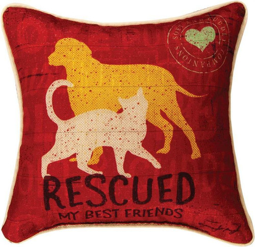 Rescued Best Friend Throw Pillow By Manual Woodworkers SDREBF