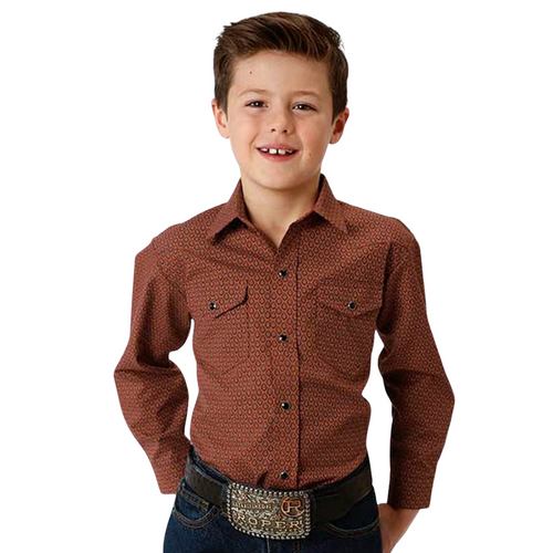 Kid's Rust Long Sleeve Snap Front Shirt by Roper 01-030-0019-0189 RT