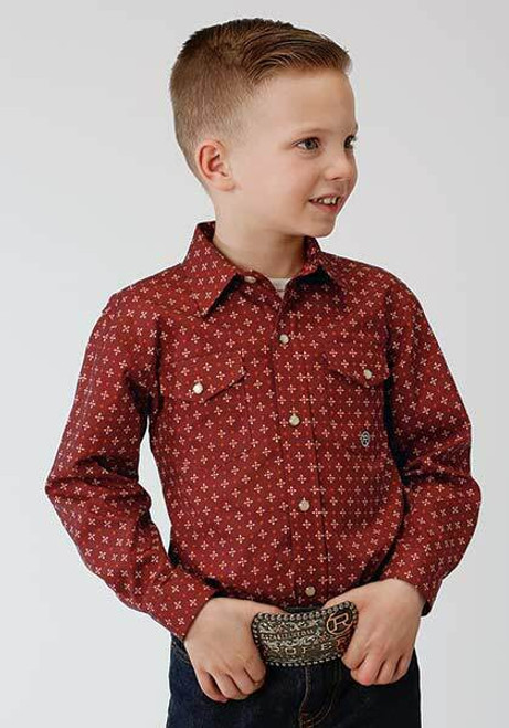 Clearance Deal!  Boy's Long Sleeve Snap Front Shirt Red 03-030-0225-0163 RE
