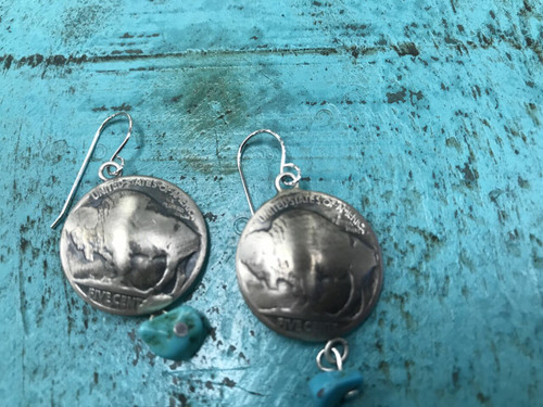 Genuine  Turquoise and Sterling Buffalo Nickle Earrings by Silver Star Jewelry