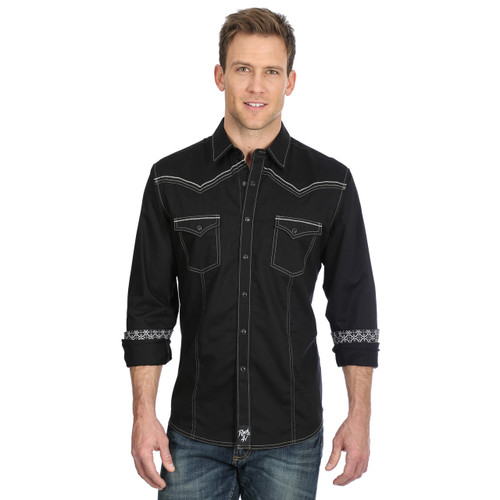 Men's Black Embroidered Rock 47 Long Sleeve Western Shirt by Wrangler MRC377X