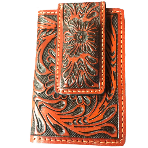 Tooled Leather Money Clip DW67