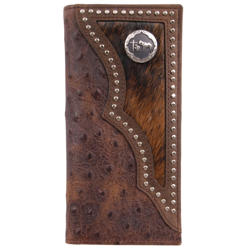 Men's Hair On Ostrich Print Rodeo Wallet by M&F Western DW914