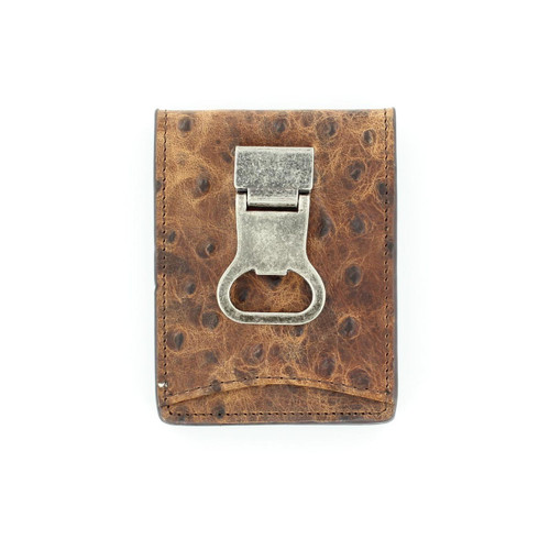 Ostrich Leather Bottle Opener Bi Fold Money Clip N5488602