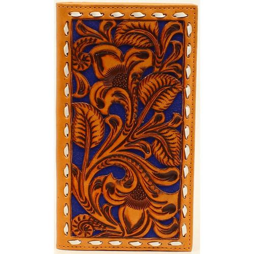 Buck Stitched Tooled Leather Overlay Rodeo Wallet N5497827