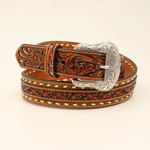 Men's Nocona Pierced Leather Buck Stitch Belt by M&F Western N210001908