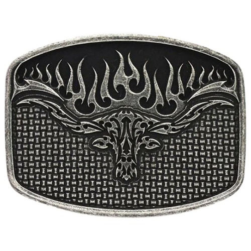 Flaming Longhorn Attitude Mesh Buckle by Montana Silversmiths A489RTS