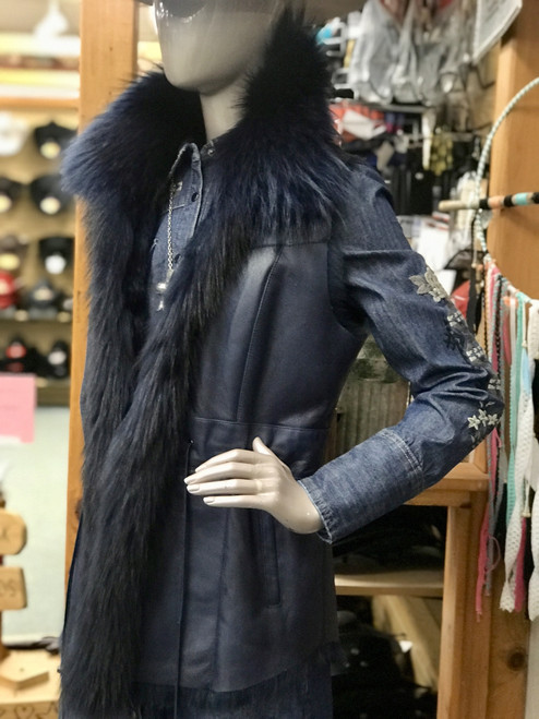 Fox Trimmed Shearling Vest in Blue by Morris Kaye 2705V
