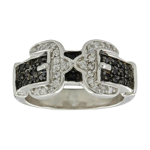 Women's Double Buckle Ring by Montana Silversmiths RG3569BK