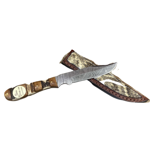 "Damascus Mini Stag 7.5"" Snake Knife By Skin Shop 1108AS"