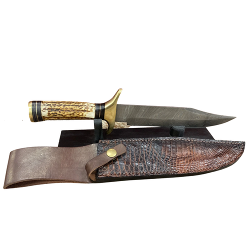 Damascus Steel Antler Knife With Caiman Sheath By Skin Shop 1033CT