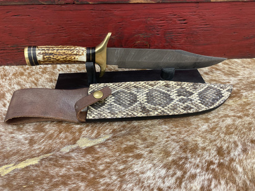 Damascus Steel Antler Blade  With Diamond Back Sheath By Skin Shop 1033AS