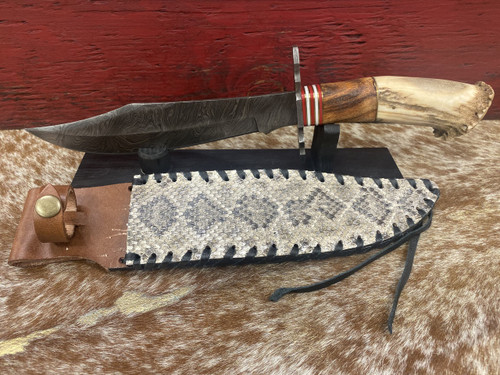 "13.5"" Damascus Crown Bowie Snake Knife by Skin Shop 1042AS"