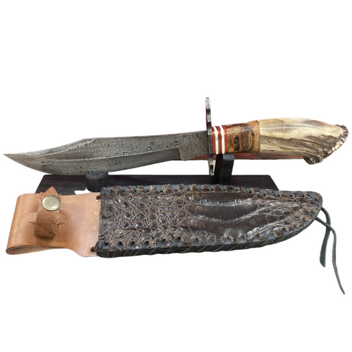 """13.5"""" Damascus Crown Bowie Croc Knife by Skin Shop 1042CT"""