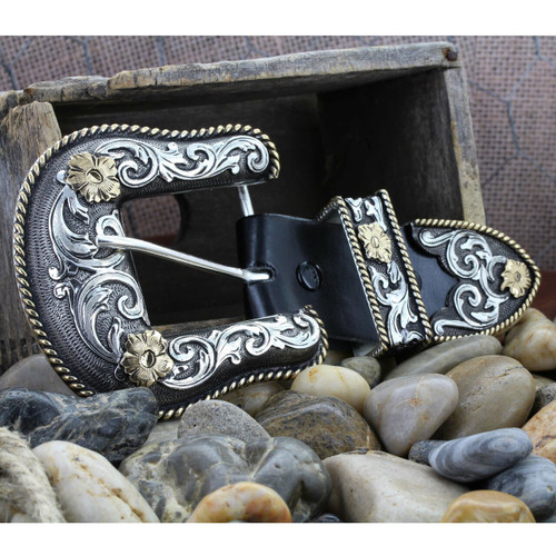 """Antiqued Two Tone Filigree 1.5"""" 3 Piece Belt Buckle Set by Montana Silversmith 61565"""