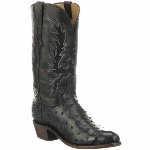 Men's Elgin Navy Blue Antique Full Quill Ostrich Boot by Lucchese N1188.R3