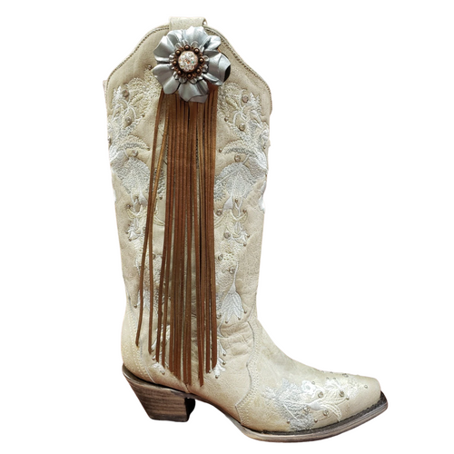 Silver Carnation Flower Fringe Boot Fling Thing by Rodeo Drive 3912