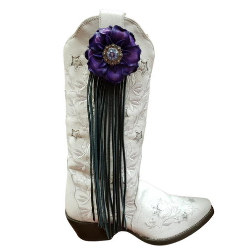 Purple Gardenia Flower Fringe Boot Fling Thing by Rodeo Drive 3910