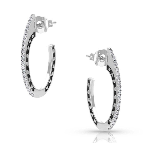 Women's Horseshoes On The Side Post Earrings by Montana Silversmith ER4480