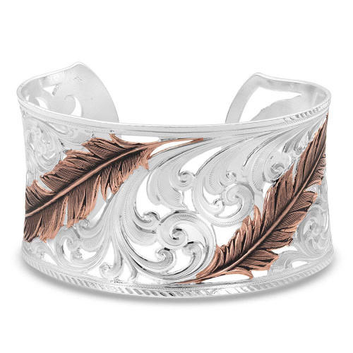 Women's Heavenly Whisper Feather Cuff Bracelet by Montana Silversmith BC4341RG
